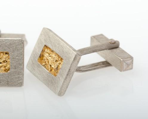 Manschettenknöpfe aus 925er Silber und mit Blattgold - Preis: 155,-€