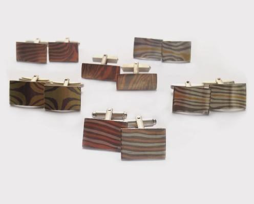 Mokume Gane Manschettenknöpfe mit verschiedenen Metallverbindungen