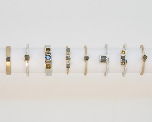 750er Gelbgold, 925er Silber, Blattgold, Rohdiamanten, blaue Saphire